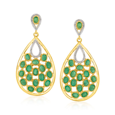 7.50 ct. t.w. Emerald Drop Earrings in Two-Tone Sterling Silver