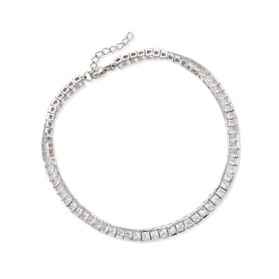 10.35 ct. t.w. Princess-Cut CZ Tennis Anklet in Sterling Silver