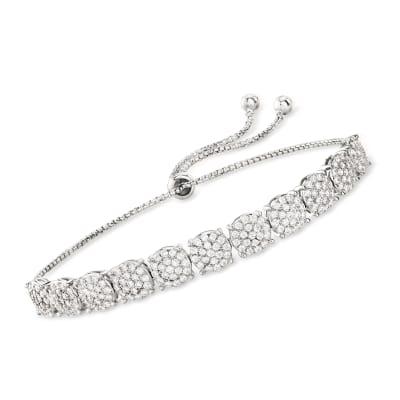 1.80 ct. t.w. CZ Floral Bolo Bracelet in Sterling Silver