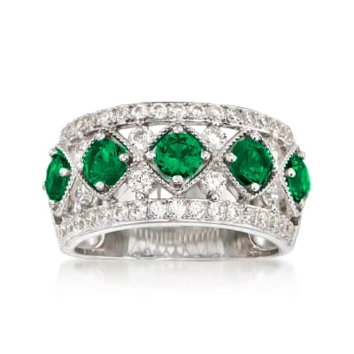 1.10 ct. t.w. Simulated Emerald and .80 ct. t.w. CZ Ring in Sterling Silver