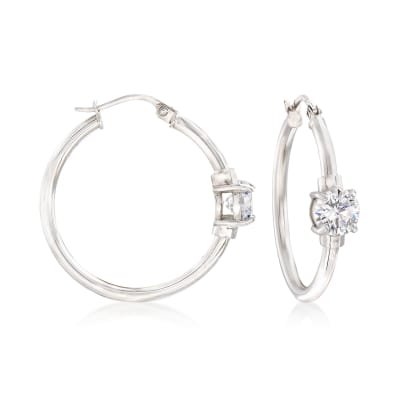 1.60 ct. t.w. CZ Station Hoop Earrings in Sterling Silver