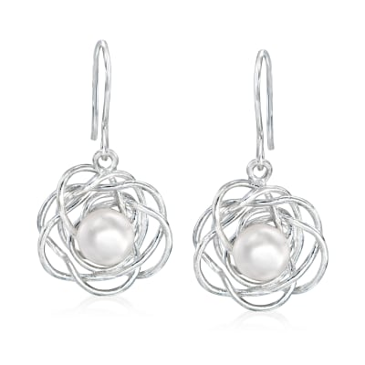 8-8.5mm Cultured Pearl Flower Drop Earrings in Sterling Silver