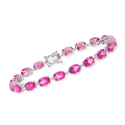 20.00 ct. t.w. Pink Topaz Bracelet in 14kt White Gold