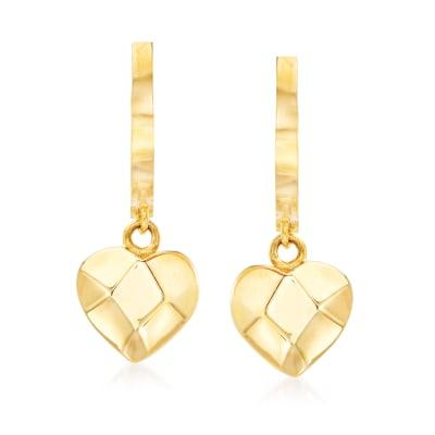 14kt Yellow Gold Basketweave Heart Drop Earrings