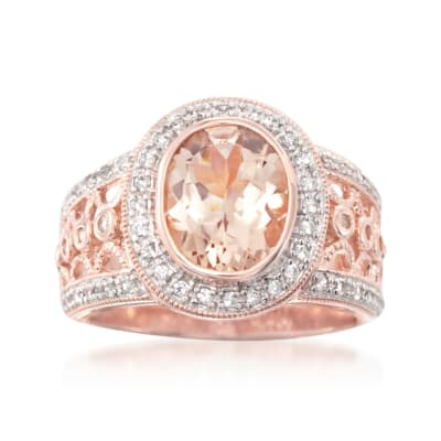 2.30 Carat Morganite and .40 ct. t.w. White Zircon Ring in 18kt Rose Gold Over Sterling
