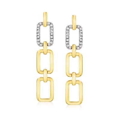 .10 ct. t.w. Diamond Paper Clip Link Drop Earrings in 14kt Two-Tone Gold