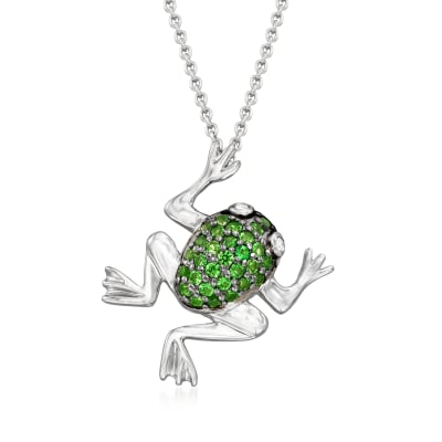 .40 ct. t.w. Green Chrome Diopside Frog Necklace in Sterling Silver with Black Rhodium