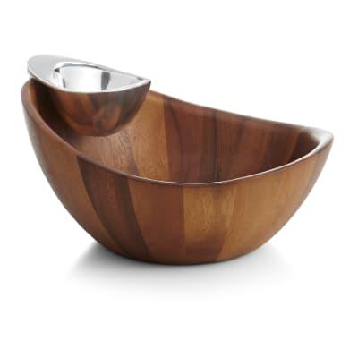"""Nambe """"Harmony"""" Acacia Wood Chip and Dip Bowls"""