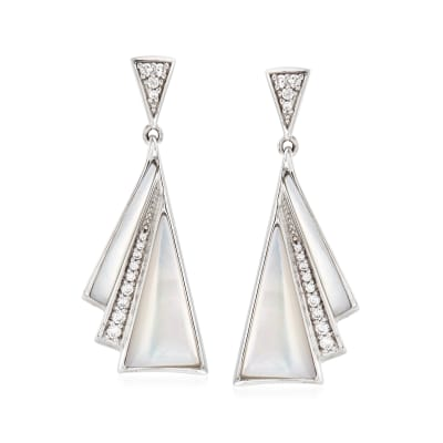 "Belle Etoile ""Empire"" Mother-Of-Pearl and .40 ct. t.w. CZ Drop Earrings in Sterling Silver"