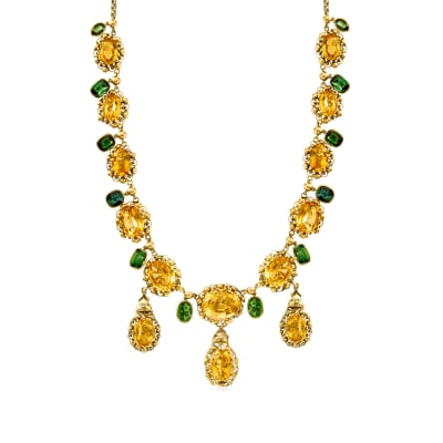 C. 1950 Vintage 48.50 ct. t.w. Citrine and 13.50 ct. t.w. Green Tourmaline Necklace in 18kt Yellow Gold