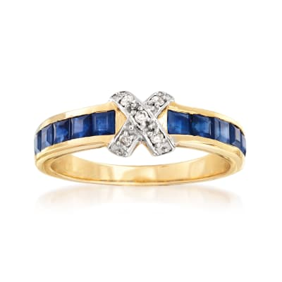 1.20 ct. t.w. Sapphire X Ring with Diamond Accents in 14kt Yellow Gold