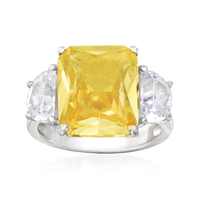 7.65 ct. t.w. Yellow and White CZ Ring in Sterling Silver