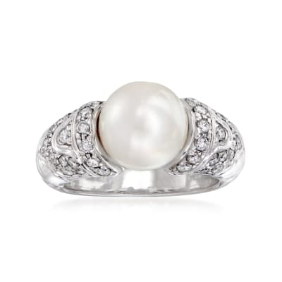 C. 1990 Vintage Bulgari 9mm Cultured Pearl and .50 ct. t.w. Diamond Ring in 18kt White Gold