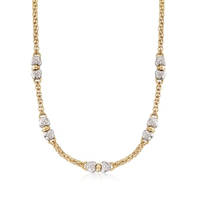 C. 1980 Vintage 1.20 ct. t.w. Diamond Hearts Two-Tone Station Necklace in 18kt Yellow Gold