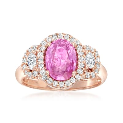 2.20 Carat Pink Sapphire and .70 ct. t.w. Diamond Ring in 14kt Rose Gold