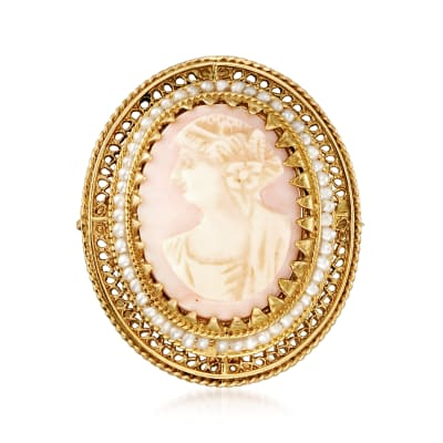C. 1950 Vintage Pink Agate Cameo Pin in 14kt Yellow Gold