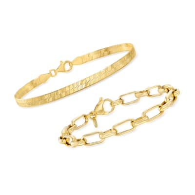 18kt Gold Over Sterling Jewelry Set: Herringbone and Paper Clip Link Bracelets