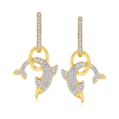 .50 ct. t.w. Diamond Dolphin Drop Earrings in 18kt Gold Over Sterling