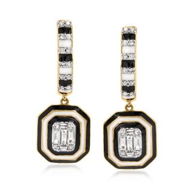 .25 ct. t.w. Diamond Cluster and Striped Enamel Hoop Drop Earrings in 14kt Yellow Gold