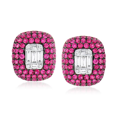 2.50 ct. t.w. Ruby and .45 ct. t.w. Diamond Earrings in 18kt White Gold