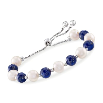 Lapis and 8-9mm Cultured Pearl Bolo Bracelet in Sterling Silver