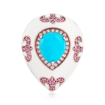 Turquoise, .90 ct. t.w. Rhodolite Garnet and .70 ct. t.w. White Zircon Ring with White Enamel in 18kt Rose Gold Over Sterling
