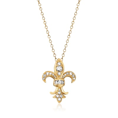 .33 ct. t.w. Diamond Fleur-De-Lis Pendant Necklace in 14kt Yellow Gold