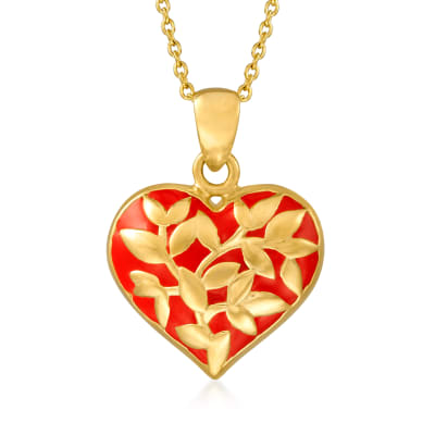 Red Enamel Heart Pendant Necklace in 18kt Gold Over Sterling