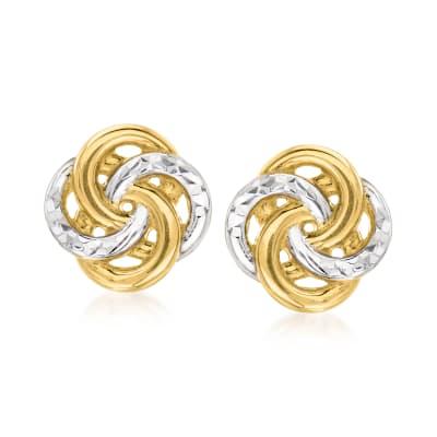 14kt Two-Tone Gold Interlocking-Circle Stud Earrings