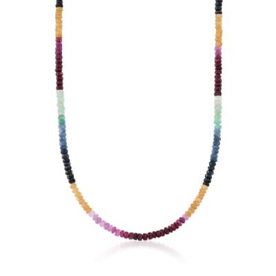 100.00 ct. t.w. Multicolored Sapphire Bead Necklace in Sterling Silver