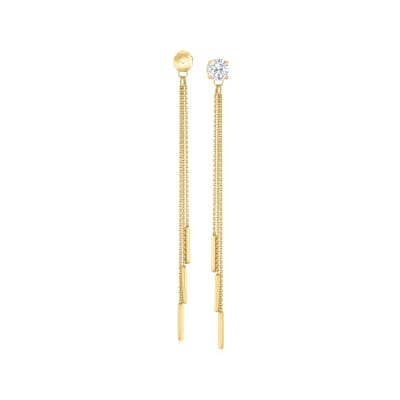 14kt Yellow Gold Cable Chain and Bar Tassel Earring Jackets
