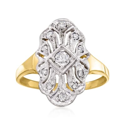 C. 1980 Vintage .15 ct. t.w. Diamond Filigree Ring in 14kt Two-Tone Gold