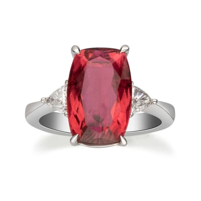 4.80 Carat Pink Tourmaline and .32 ct. t.w. Diamond Ring in 18kt White Gold