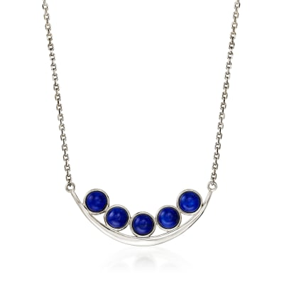 Lapis Curved Bar Necklace in Sterling Silver