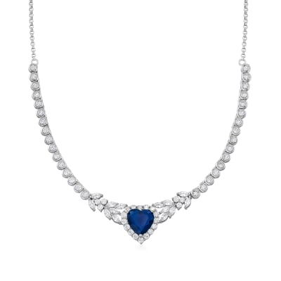 7.25 Carat Simulated Sapphire and 6.22 ct. t.w. CZ Heart Necklace in Sterling Silver