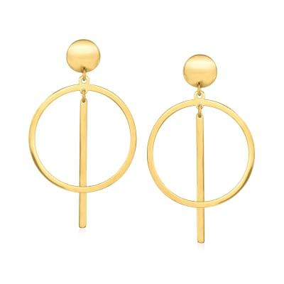 14kt Yellow Gold Geometric Drop Earrings