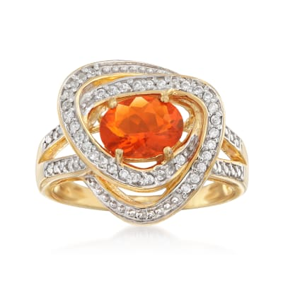 Fire Opal and .10 ct. t.w. White Zircon Ring in 18kt Gold Over Sterling