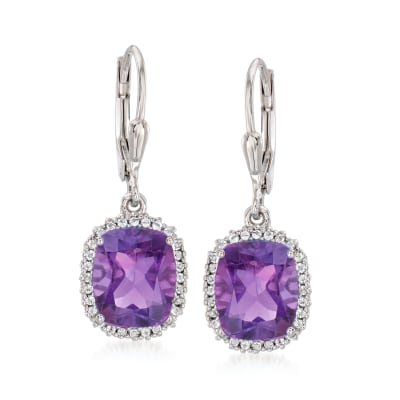 4.90 ct. t.w. Amethyst and .20 ct. t.w. White Topaz Drop Earrings in Sterling Silver