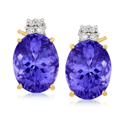 11.00 ct. t.w. Tanzanite Earrings with .18 ct. t.w. Diamonds in 14kt Yellow Gold