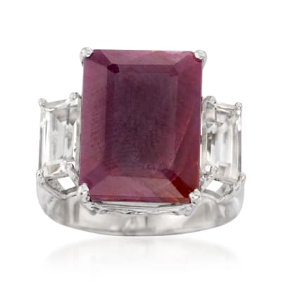 12.00 Carat Ruby and 1.60 ct. t.w. White Topaz Ring in Sterling Silver