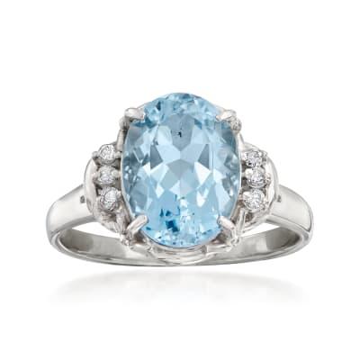 C. 1990 Vintage 1.45 Carat Aquamarine Ring with Diamond Accents in Platinum