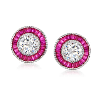 3.10 ct. t.w. CZ and .80 ct. t.w. Simulated Ruby Earrings in Sterling Silver