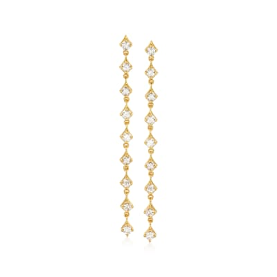 1.00 ct. t.w. Diamond Linear Drop Earrings in 18kt Gold Over Sterling
