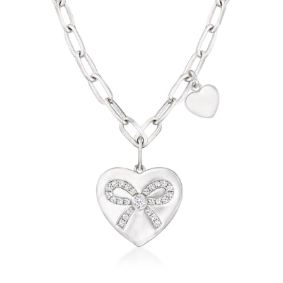 .16 ct. t.w. CZ Ribbon Heart Charm Paper Clip Link Necklace in Sterling Silver