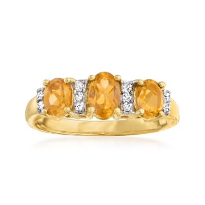 1.20 ct. t.w. Citrine Three-Stone Ring with Diamond Accents in 14kt Yellow Gold