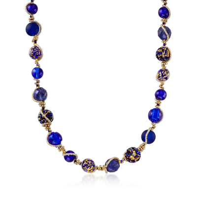 Italian Blue Murano Glass Bead Necklace in 18kt Gold Over Sterling