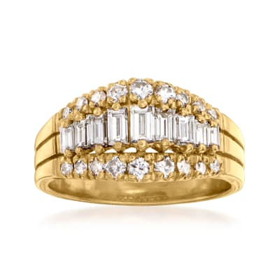 C. 1980 Vintage 1.25 ct. t.w. Round and Baguette Diamond Fashion Ring in 14kt Yellow Gold