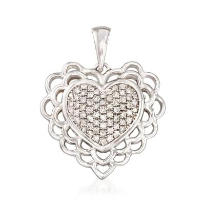 .20 ct. t.w. Diamond Heart Pendant in Sterling Silver