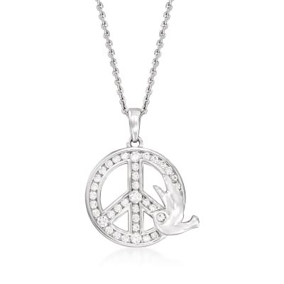 .40 ct. t.w. CZ Peace Sign Pendant Necklace in Sterling Silver