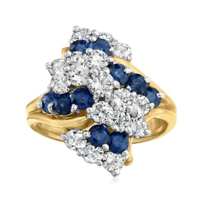 C. 1980 Vintage 1.50 ct. t.w. Diamond and 1.40 ct. t.w. Sapphire Cluster Ring in 14kt Yellow Gold